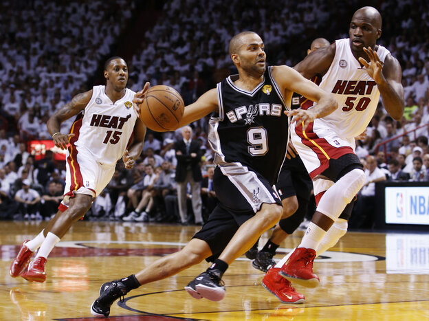 Tony Parker of the San Antonio Spurs during Thursday night's first game of the NBA finals