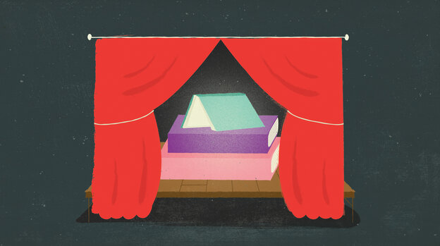 Illustration: Books on a stage framed by red curtains.
