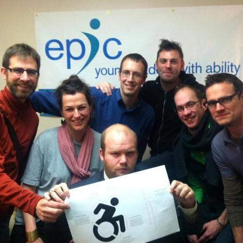The Accessible Icon team features designer Sara Hendren (second from the left).