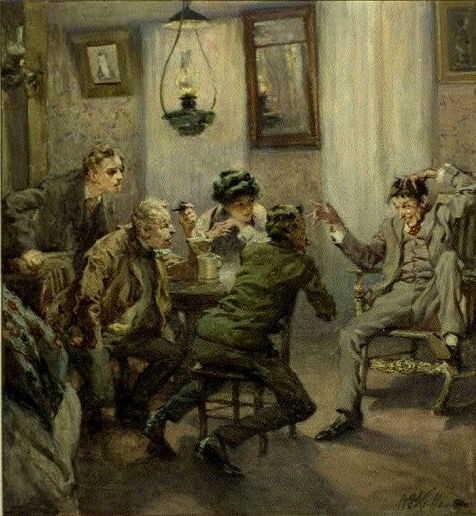 Storytelling. Watercolor by Arthur Ignatius Keller. (1910?)