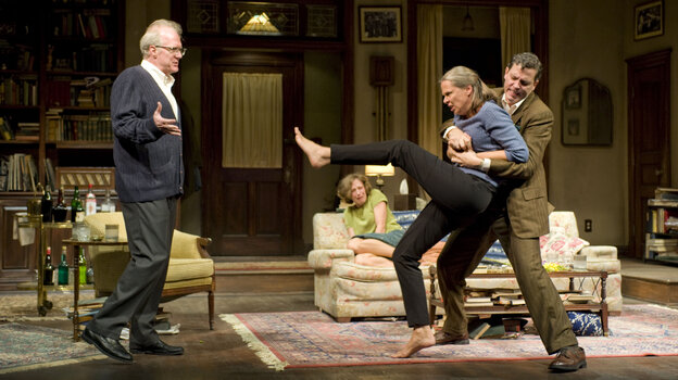 Tracy Letts (left) and Amy Morton (being restrained by Madison Dirks as Carrie Coon looks on) played the perennially sparring partners George and Martha in this season's wildly acclaimed Broadway revival of Who's Afraid of Virginia Woolf? Reporter Jeff Lunden says the show is likely to take home one of the top Tony Awards when the annual theater prizes are handed out Sunday night.