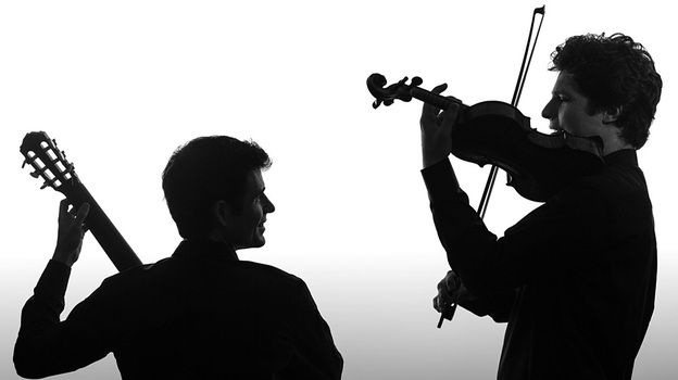 Three of today's most fascinating violinists have new albums, including Augustin Hadelich, who pairs off with Spanish guitarist Pablo Sáinz Villegas. (Avie Records)