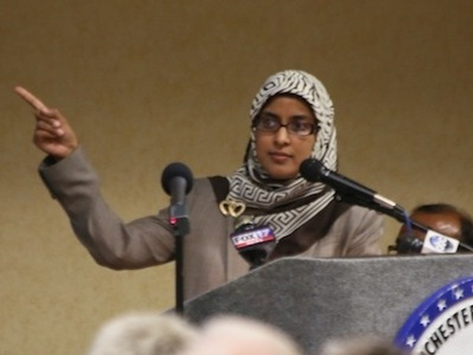 Sabina Mohyuddin was heckled as she spoke at the town meeting last week in Manchester, Tenn. (William Hobbs)