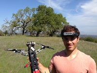 Pablo Lema shows off his quadcopter.
