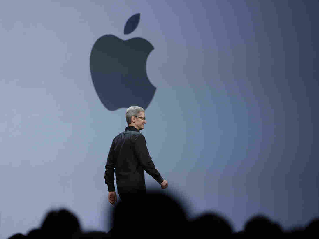 Apple CEO Tim Cook delivers the keynote address of the Apple Wo