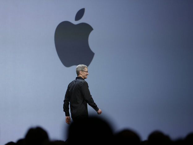 Apple CEO Tim Cook delivers the keynote address of the Apple Worldwide Developers Conference in San Francisco on Monday.