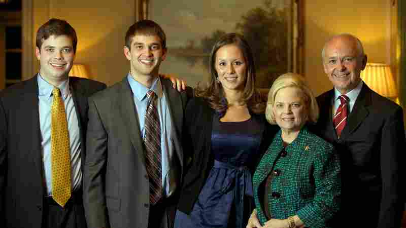 Peggy Wallace Kennedy with her family (from left) Burns Kennedy, Leigh Kennedy, Stephanie Rion Kennedy (wife of Leigh) and Mark Kennedy.