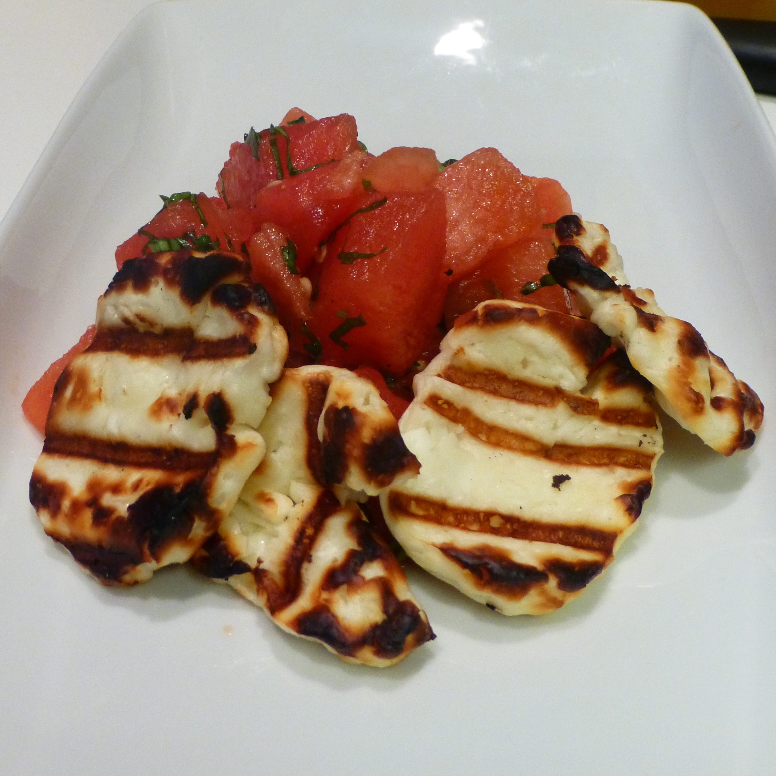 Watermelon Salad with Grilled Halloumi