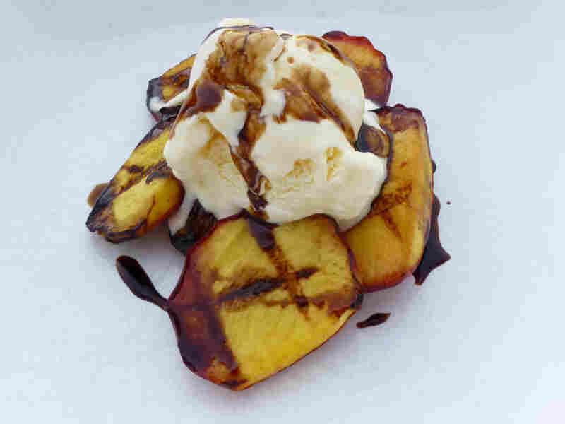 Grilled Peaches with Vanilla Ice Cream and Balsamic Vinegar