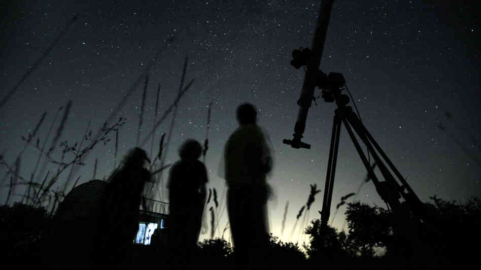 Tonight might bring the best chance to view the gamma Delphinid meteor shower in the United States since 1930, according to NASA. Here, astronomers watch the night sky for the Perseid meteor shower, in a file photo.