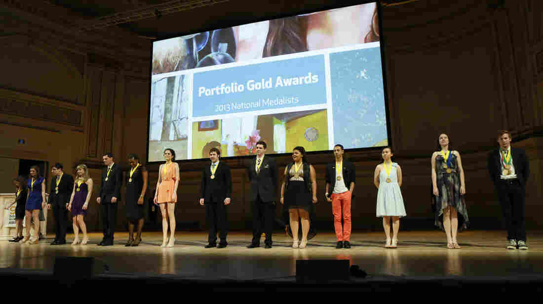 Portfolio award winners onstage at the Scholastic Art & Writing Awards in New York on May 31.