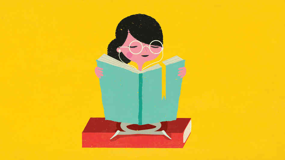 An illustration of a young woman reading a book