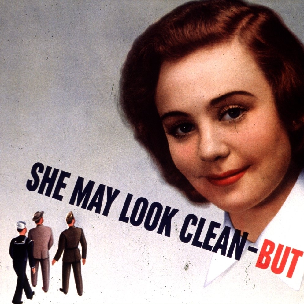 A public health poster from the 1940s warns World War II soldiers about the threat of sexually transmitted diseases.