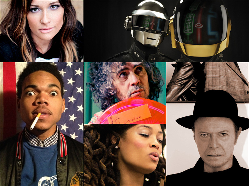Clockwise from upper left: Kacey Musgraves, Daft Punk, David Bowie, Valerie June, Chance The Rapper, Wayne Coyne of the Flaming Lips