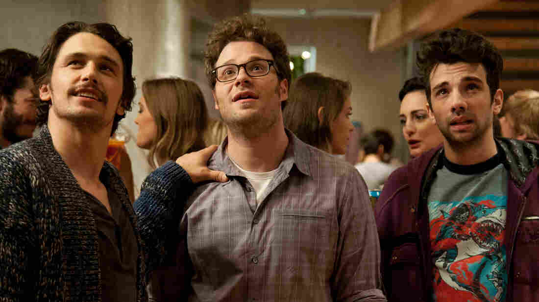 James Franco (left), Seth Rogen and Jay Baruchel are all playing themselves in Rogen's apocalypse comedy This Is the End.