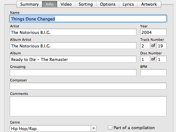 """An example of """"metadata"""" from an iTunes song."""