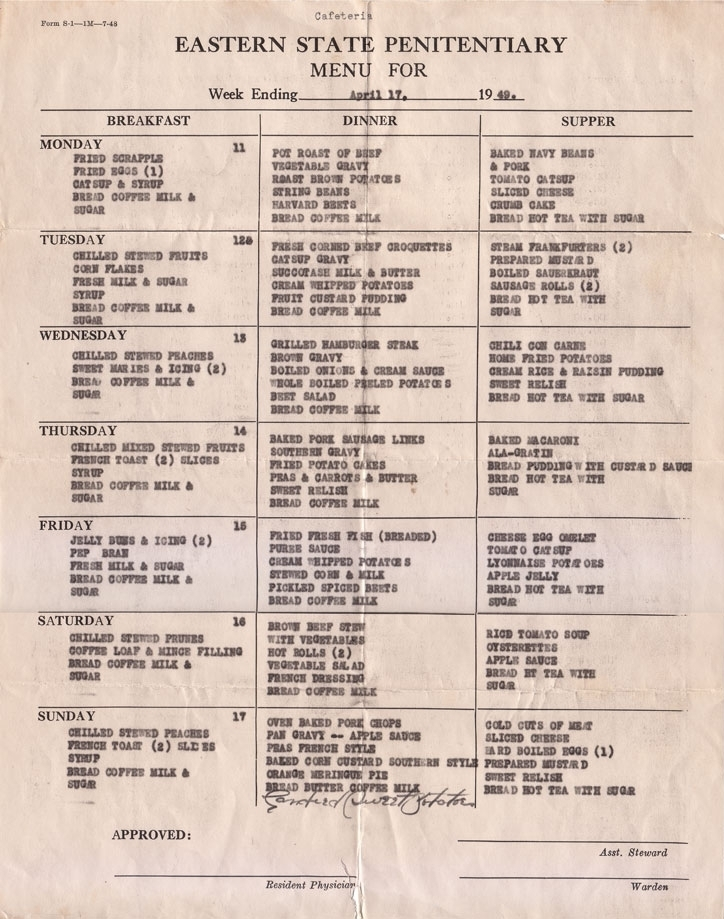 An Eastern State Penitentiary menu from 1949.