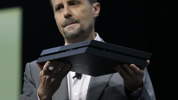 Sony Computer Entertainment President and CEO Andrew House introduces the new PlayStation 4 at an Electronic Entertainment Expo media briefing in Los Angeles on Monday.