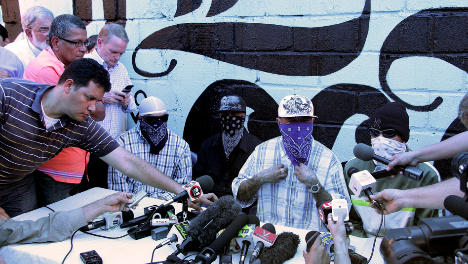 Members of the 18th Street gang announce a truce during a press conference at a prison in San Pedro Sula on May 28. (AFP/Getty Images)