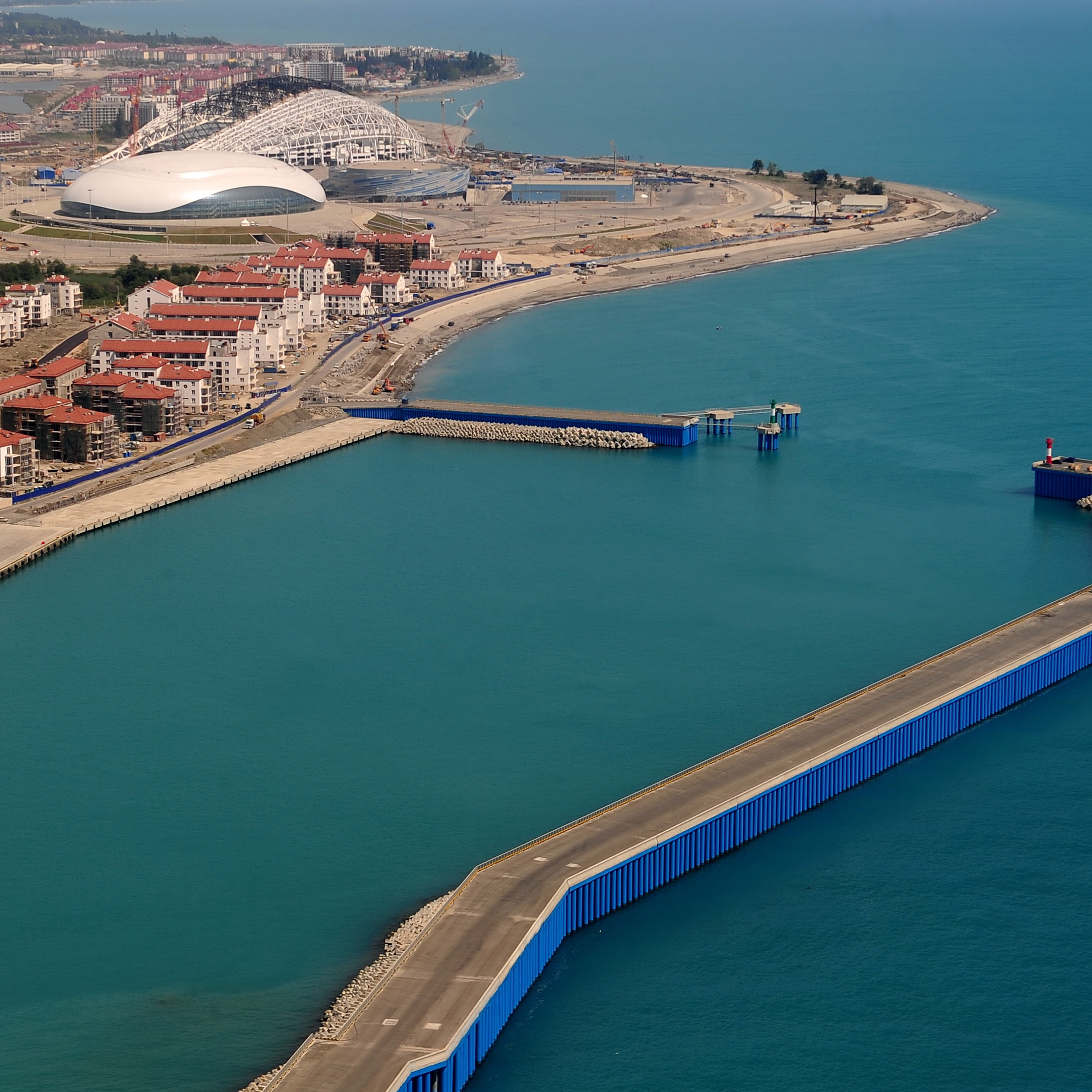 An aerial view of the construction site of Sochi's Olympic Park on the shore of the Black Sea.