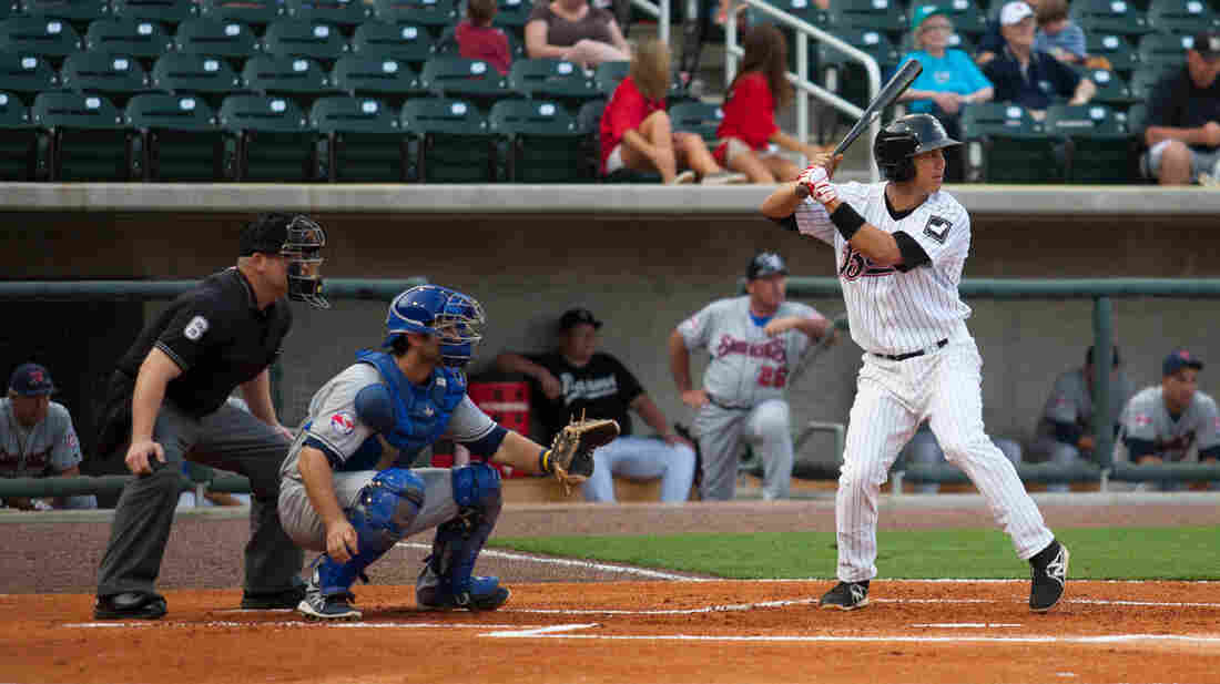 Tyler Saladino, 23, at bat against the Tennessee Smokies on June 1.