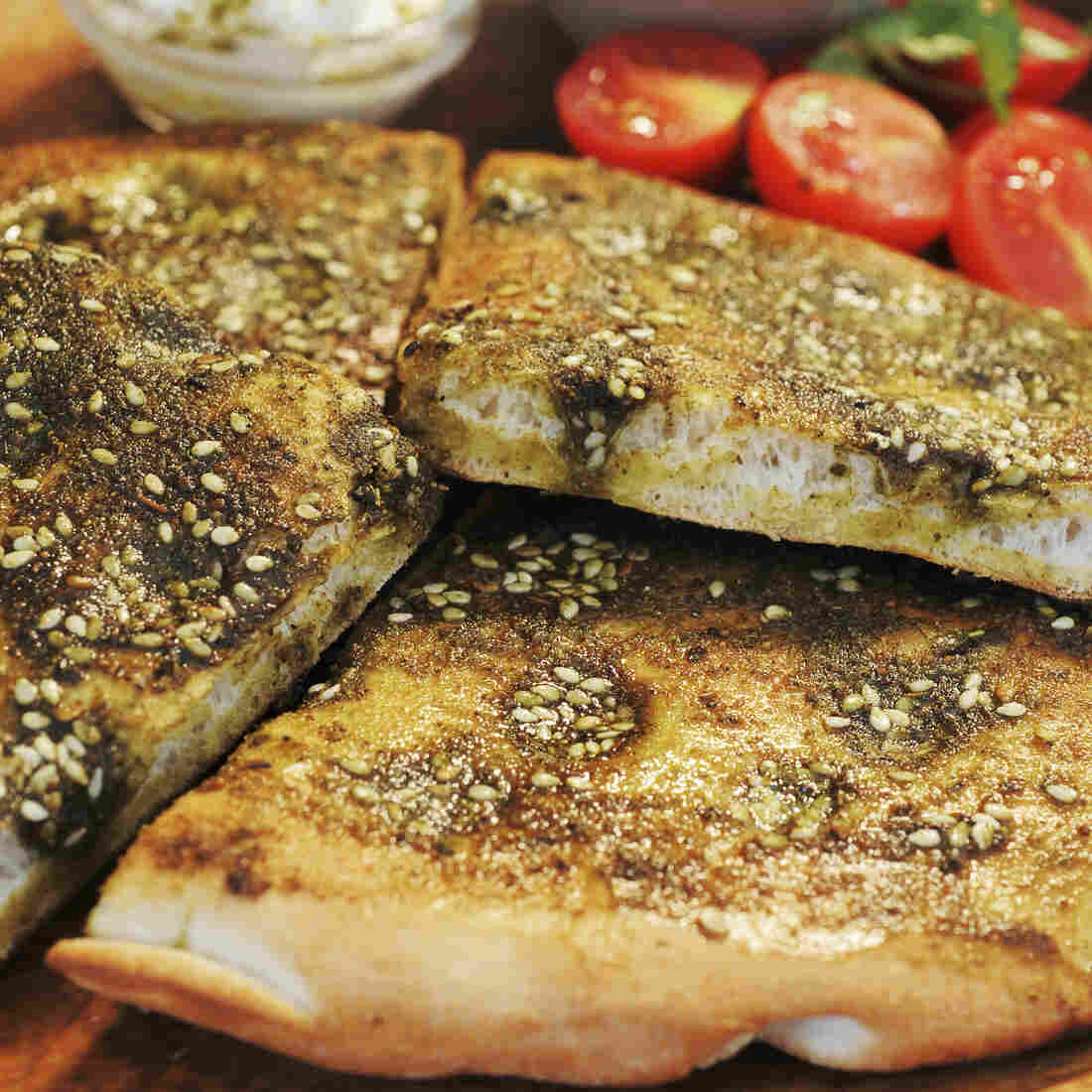 Lebanese bread topped with za'atar, a spice mix ubiquitous in the Middle East.