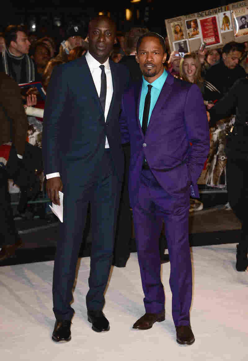 Boateng and actor Jamie Foxx attend the U.K. premiere of Django Unchained.