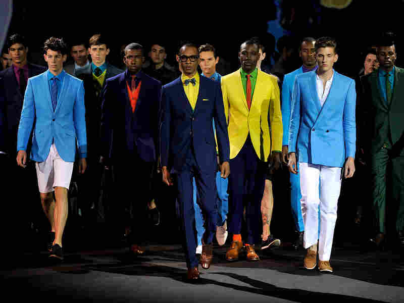 Models walk the runway during Boateng's show at London Fashion Week in 2010.