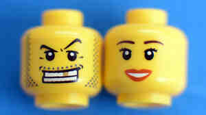 Lego faces are more often looking like that guy on the left, researchers say.