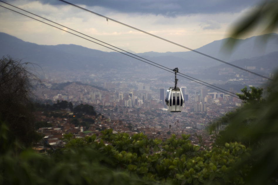 The cable-car system moves tens of thousands of people each day, connecting them to a modern metro. (Paul Smith for NPR)