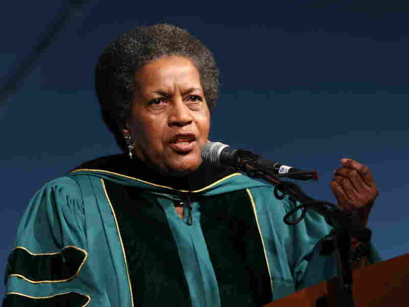 Keynote speaker Myrlie Evers-Williams at Wagner College's commencement ceremony on May 24.