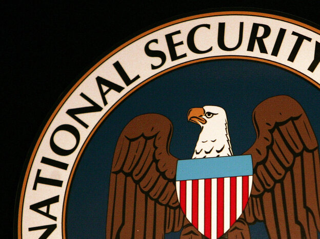 The logo of the National Security Agency (NSA) at the Threat Operations Center in Fort Meade, Md.