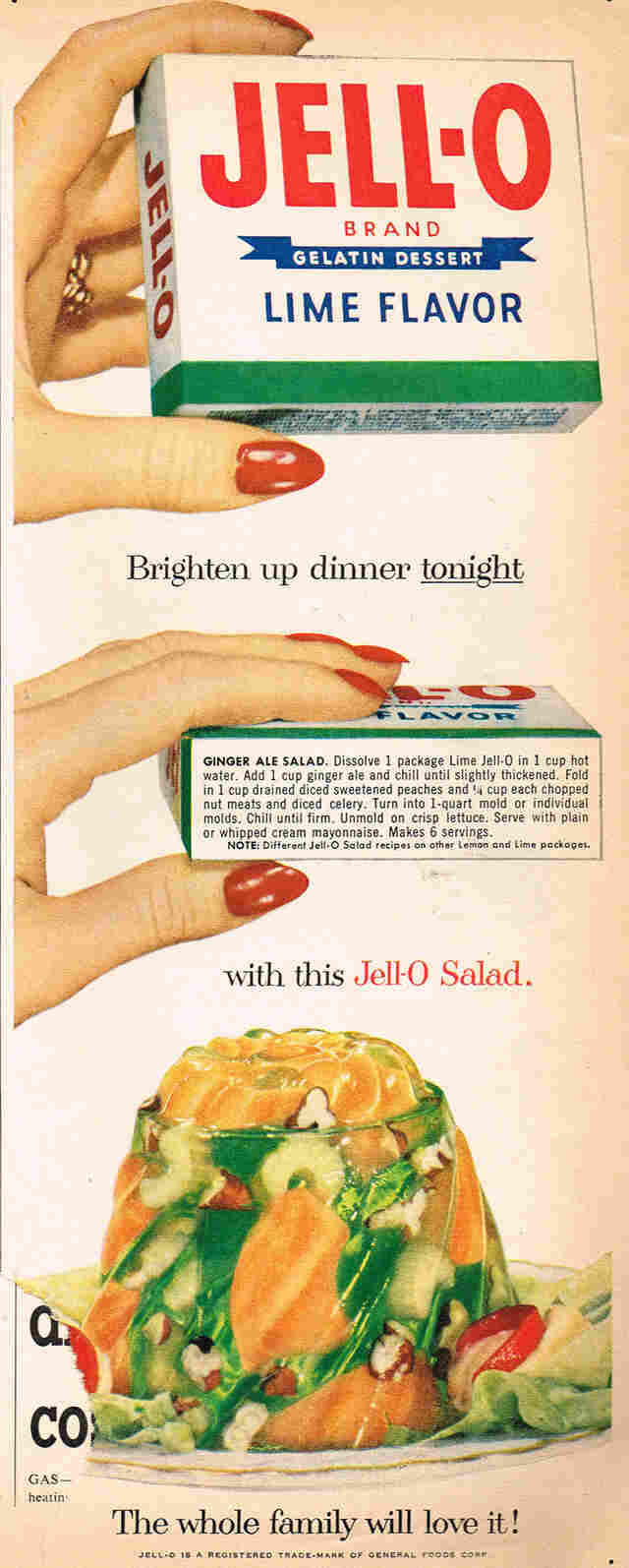 "In the mid-20th century, fruity Jell-O was commonly paired with savory ingredients. This ""ginger ale salad"" recipe calls for peaches, nuts, celery and lime Jell-O."