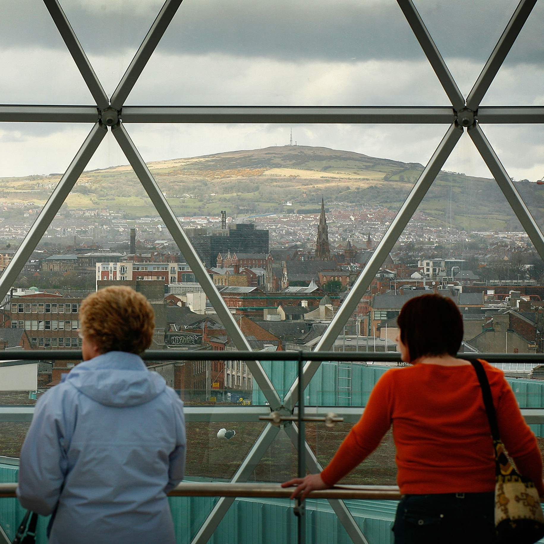 The Victoria Square shopping center's observation deck offers a panoramic of Belfast's skyline.
