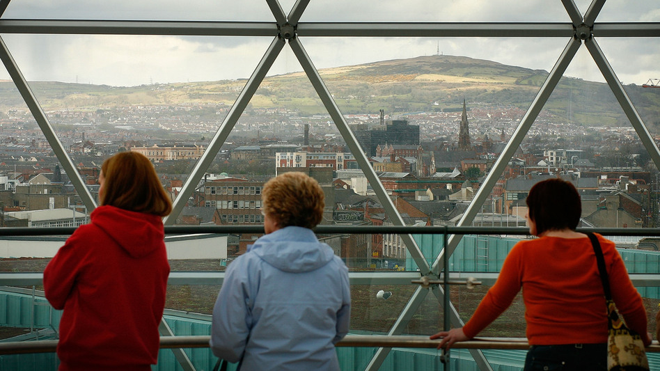 The Victoria Square shopping center's observation deck offers a panoramic of Belfast's skyline. (Getty Images)