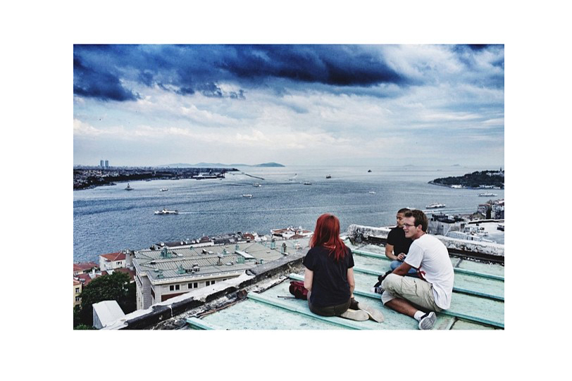 People sit on the roof of the Ataturk Cultural Center, a building also slated for destruction near Gezi Park. (Posted June 7)