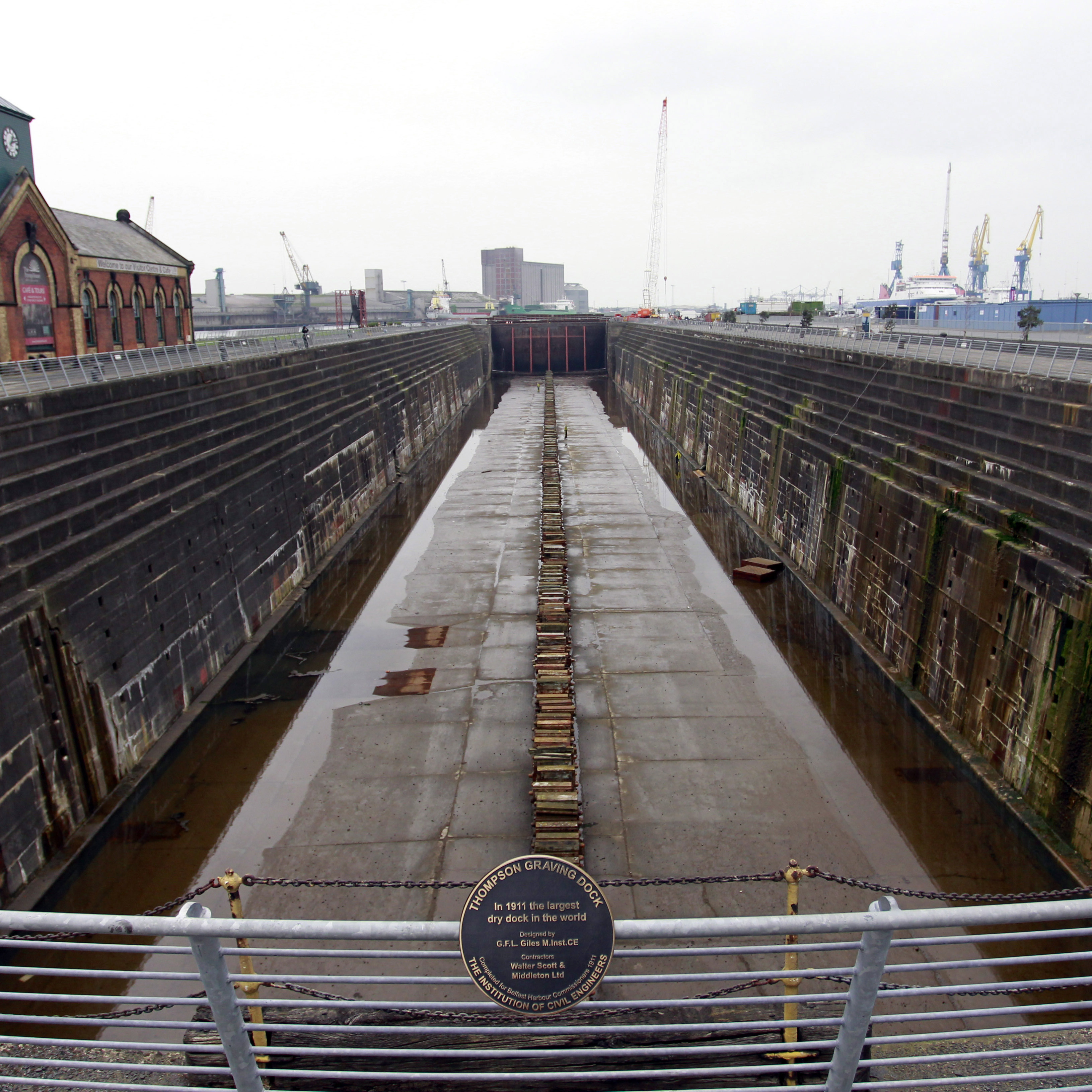 The Titanic was finished in the Thompson Dry Dock on the Belfast waterfront in 1912.