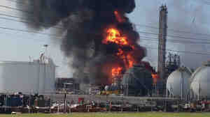 The plant on fire after it reportedly exploded Thursday in the town of Geismar, La.
