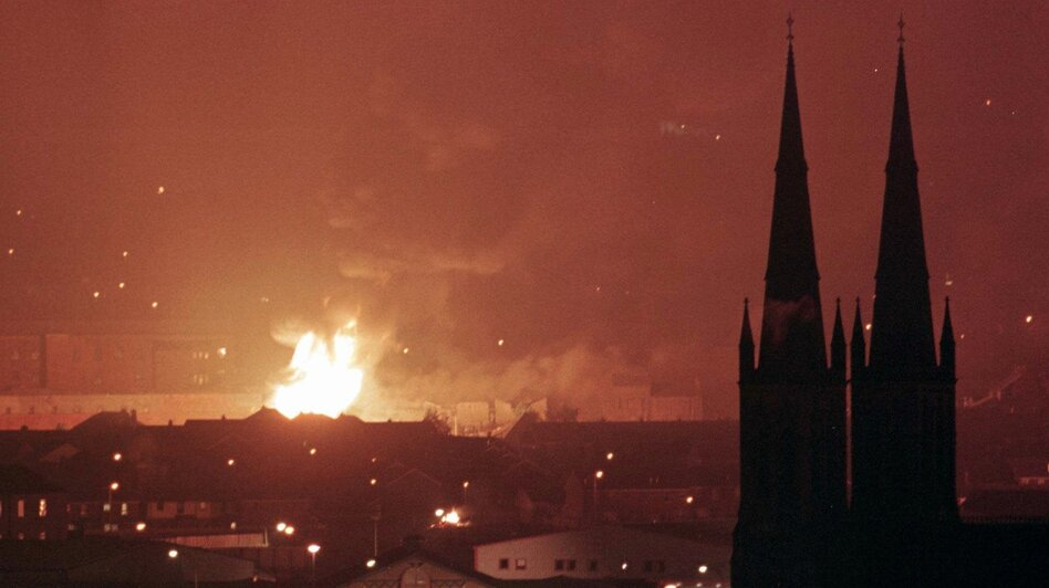 Bonfires light up the Belfast skyline on July 12, 1997, as Protestant loyalists commemorate the 17th century victory of a Protestant king over his deposed Catholic predecessor. Known as the Battle of the Boyne, the confrontation is part of a long history of tensions in the region. (AP)
