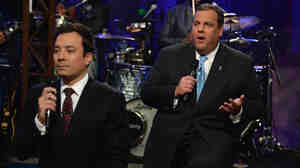 Jimmy Fallon and New Jersey Governor Chris Christie during their slow jap on Late Night With Jimmy Fallon.