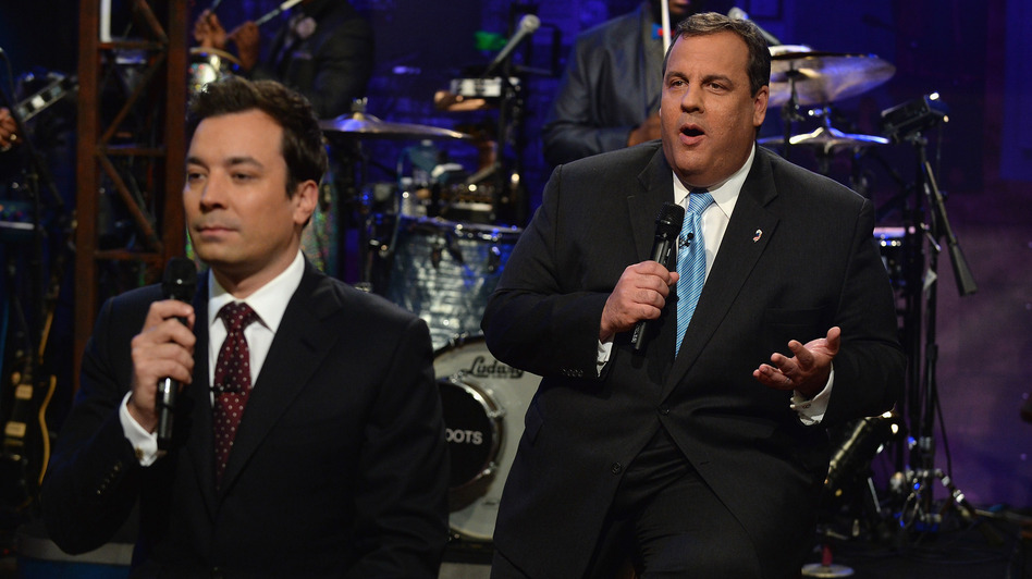 Jimmy Fallon and New Jersey Governor Chris Christie during their slow jap on Late Night With Jimmy Fallon. (Getty Images)