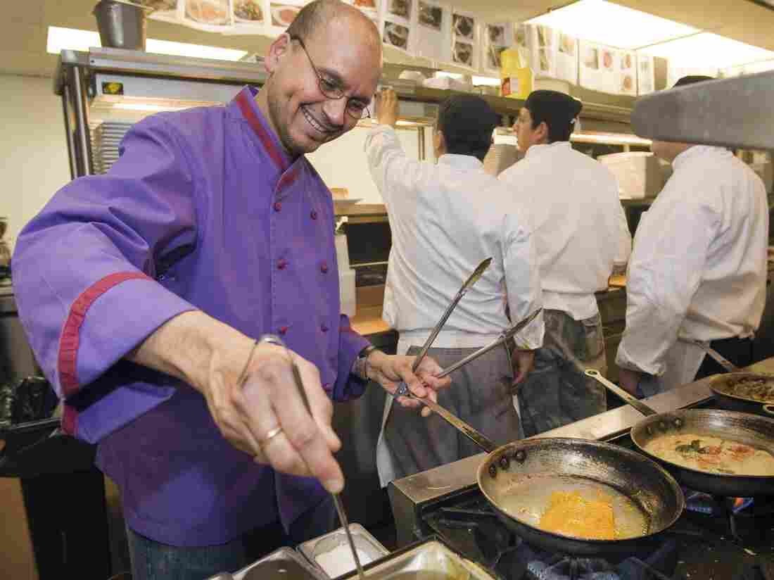 Chef Raghavan Iyer at work in Om, an Indian restaurant in Minneapolis, in 2009.
