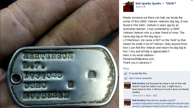 After a photo of Lanny Martinson's dog tag was placed on Facebook and elsewhere, Marines and veterans helped track him down. Martinson lost the tag in Vietnam in 1968.