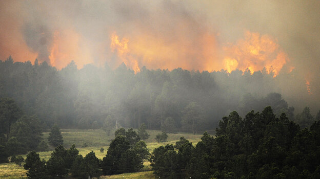 """The Black Forest wildfire is burning near Colorado Springs, Colo. As Thursday dawned it was """"zero percent contained,"""" authorities said."""