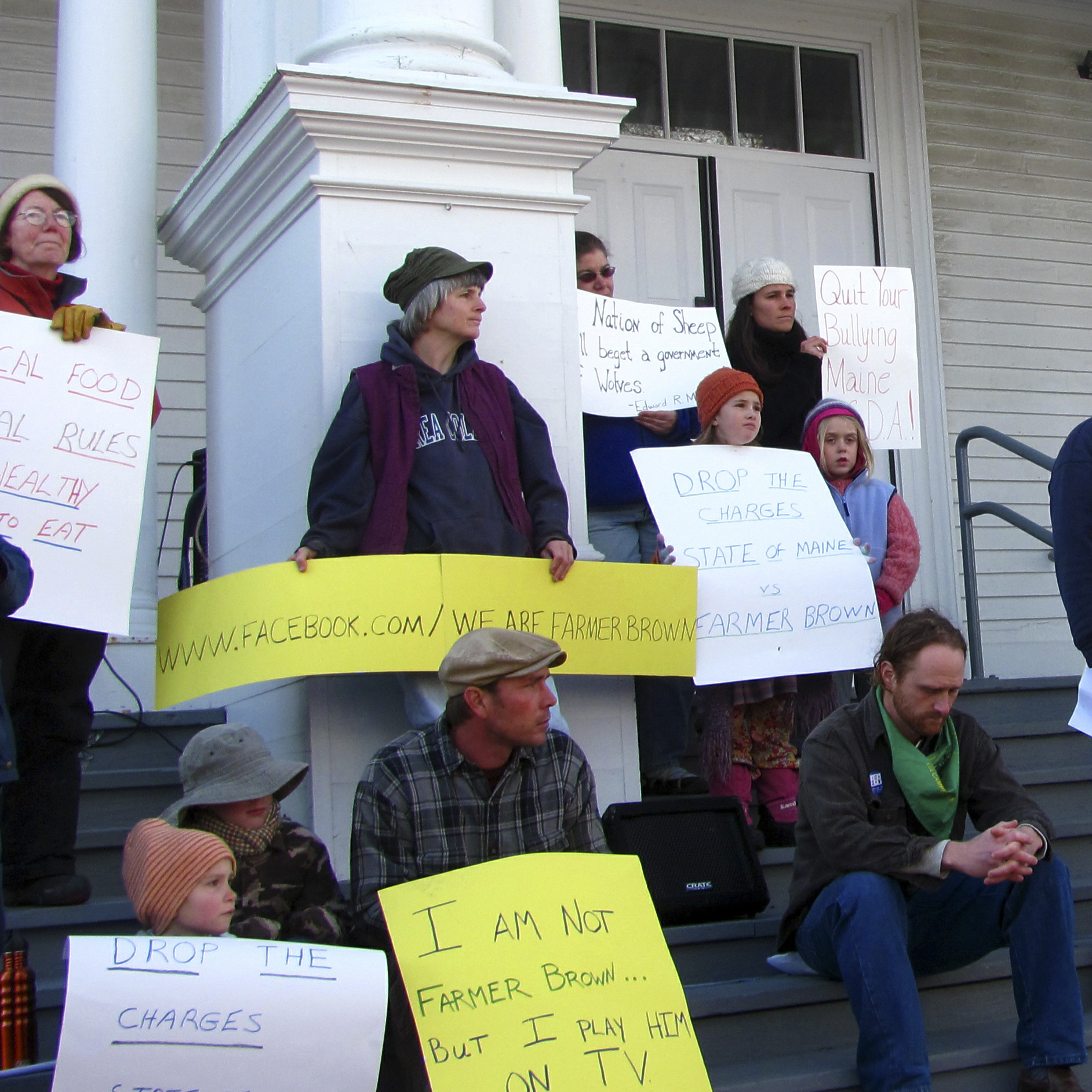 More than 150 people gather to hear farmer Dan Brown speak in 2011. The Maine Department of Agriculture filed suit against Brown, alleging that he was illegally selling unpasteurized milk without a license. Brown, meanwhile, insisted that a local food ordinance adopted by Blue Hill residents protects the rights of farmers to sell directly to consumers without a license.