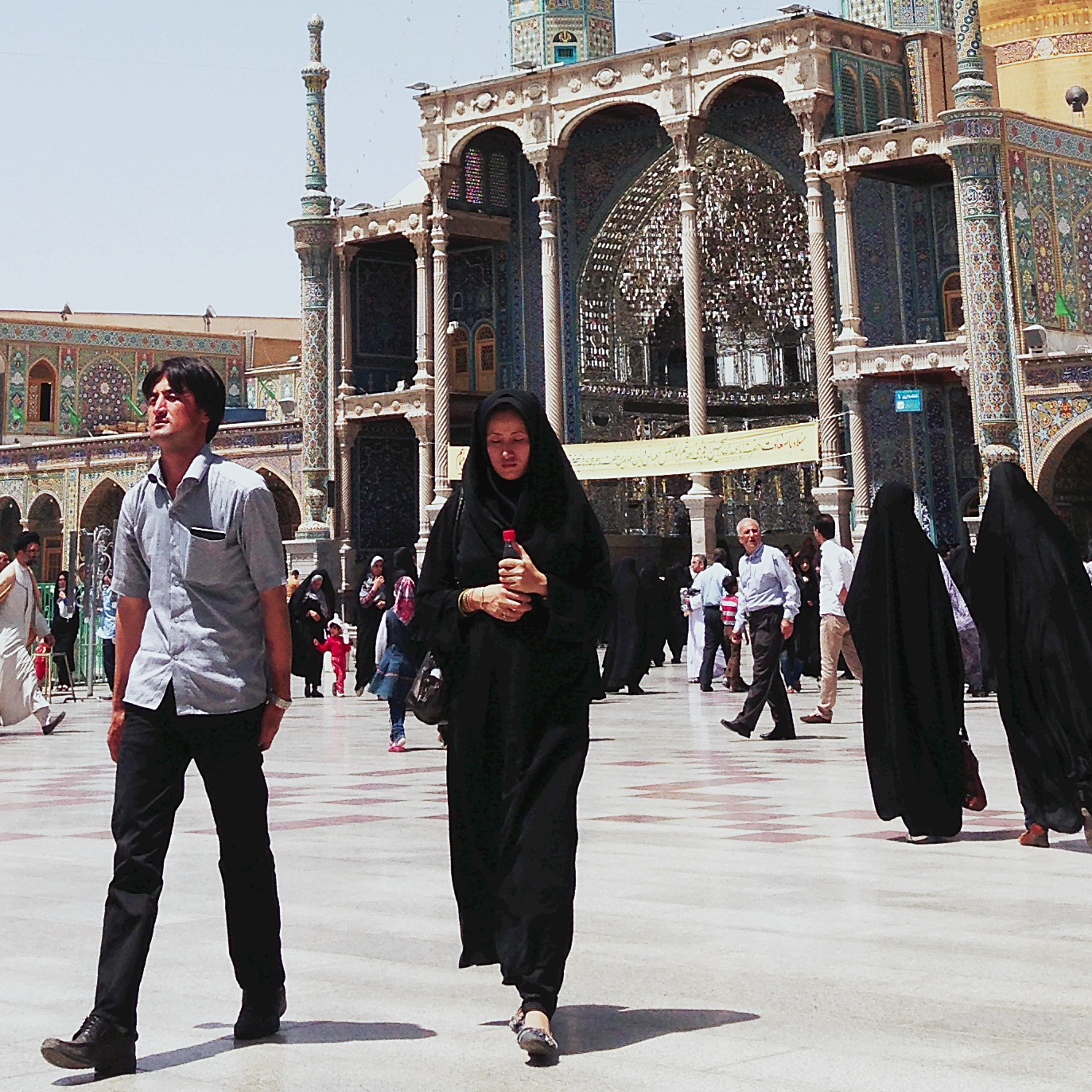 Pilgrims at the Islamic shrine of Fatimah al-Masumeh in the holy city of Qum, south of Tehran.