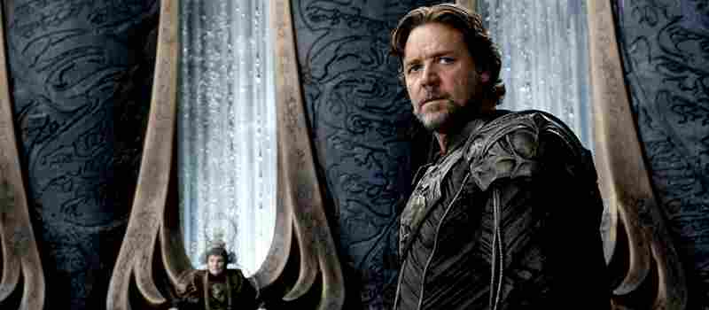 The film's opening sequences chronicle political clashes and ultimately a planetary cataclysm on Krypton, home world to Superman and his biological father, Jor-El (Russell Crowe), and mother (not pictured.)