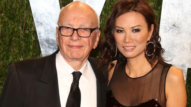 Rupert and Wendi Deng Murdoch at the Vanity Fair Oscar Party in West Hollywood on Feb. 24. (DPA /LANDOV)