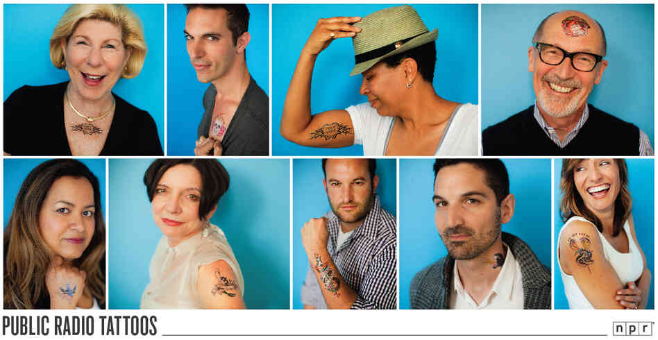 NPR talent with tattoos: (l to r) Nina Totenberg, Ari Shapiro, Michel Martin, John Ydstie, Lakshmi Singh, Jacki Lyden, David Greene, Guy Raz and Rachel Martin.