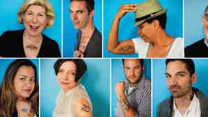 NPR talent with tattoos: (l to r) Nina Totenberg, Ari Shapiro, Michel Martin, John Ydstie, Lakshmi Singh, Jacki Lyden, David Greene, Guy Raz and Rachel Martin.